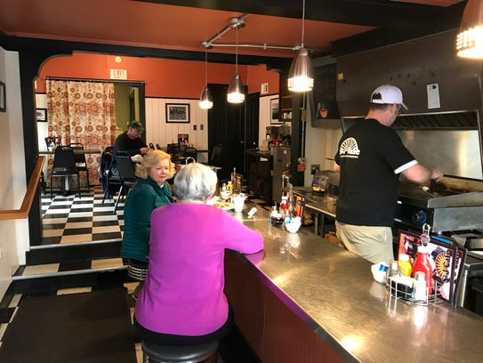 The inside of S&J Cafe offers a comfy, cozy, small-town diner feel.