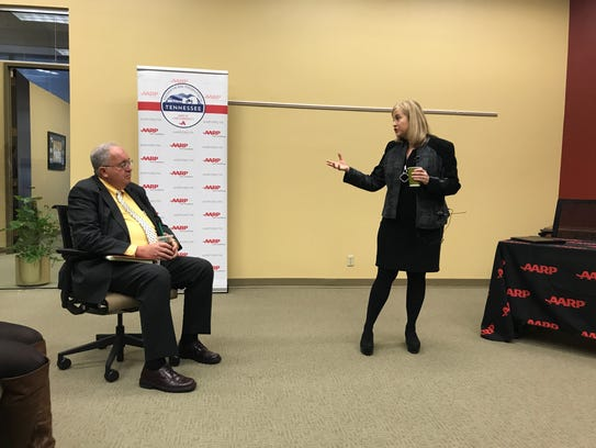 Mayor Megan Barry answers a question from Alan Marks