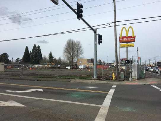 Construction work at the site of the McDonald's restaurant