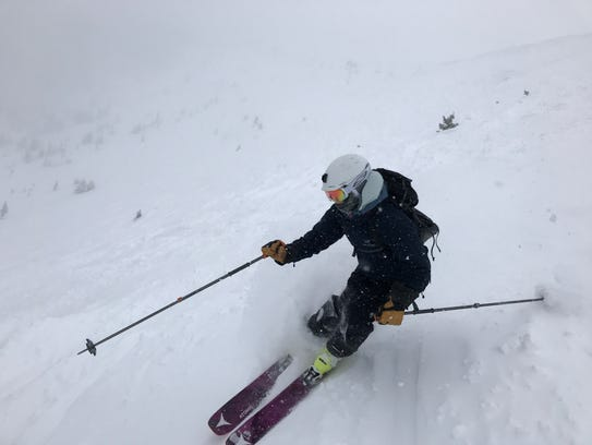 Zoe Bartel works a turn while on a recent ski trip