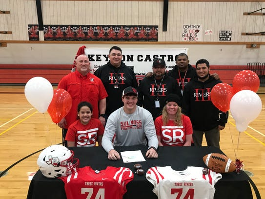 Three Rivers offensive lineman Keyton Castro made his