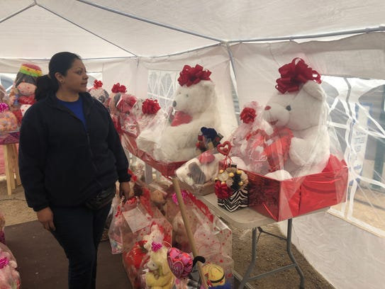 Erika Gonzalez, the owner of the Valentine's gift booth