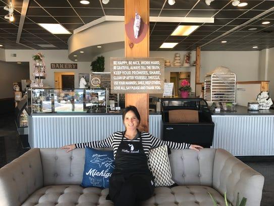 Mitten Raised Bakery co-owner Katie Lambert inside