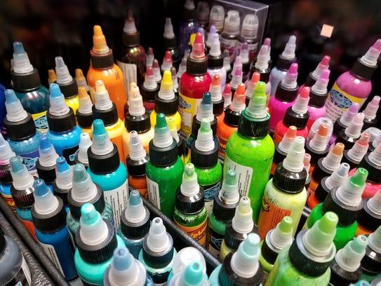 A small sampling of the ink colors Adam Mumper uses