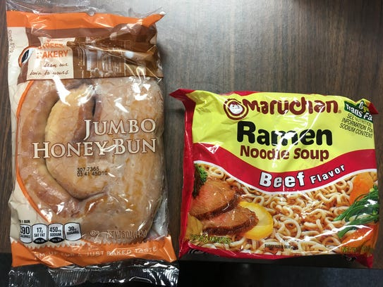 The honey buns and ramen noodles sold by the commissary