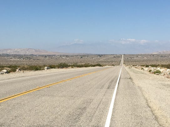 This photo shows Dillon Road in the Indio Hills area.