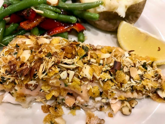 Corn Flakes & Parmesan Crusted Salmon delivers a pleasing