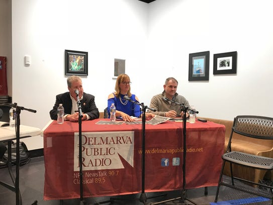 """From left, Bill Chambers, Ann McGinnis Hillyer and Jason Hearn sit on the panel at the """"Craft Beer Legislation Roundtable"""" at the Salisbury University Art Galleries on Feb. 15, 2018."""