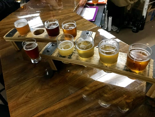 A flight from Cajun Brewing in Lafayette, served in