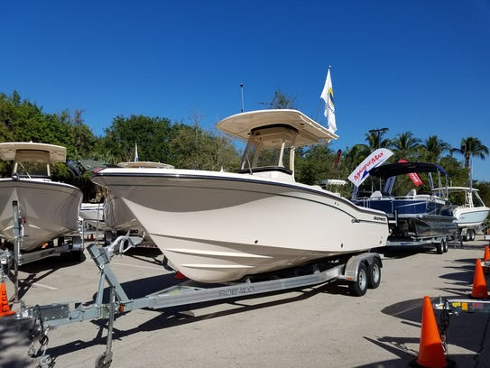Boat dealers have their stock ready to roll at the