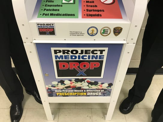 Medicine drop box located in lobby of Clifton Police