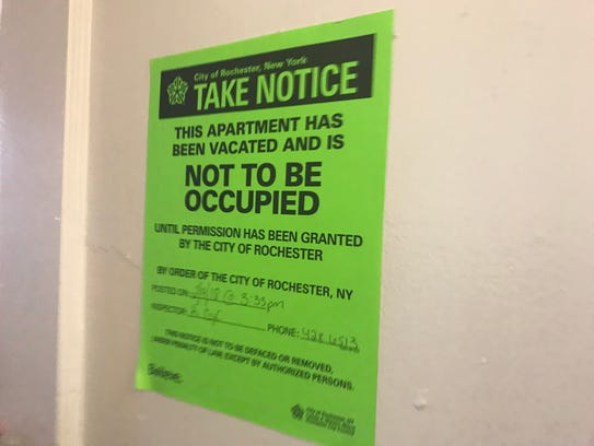 "A ""not to be occupied"" sign on John Lindsey's apartment"