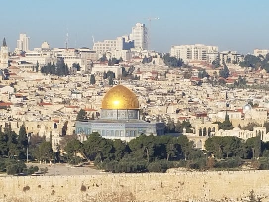 The Dome of the Rock seen from the Mount of Olives.