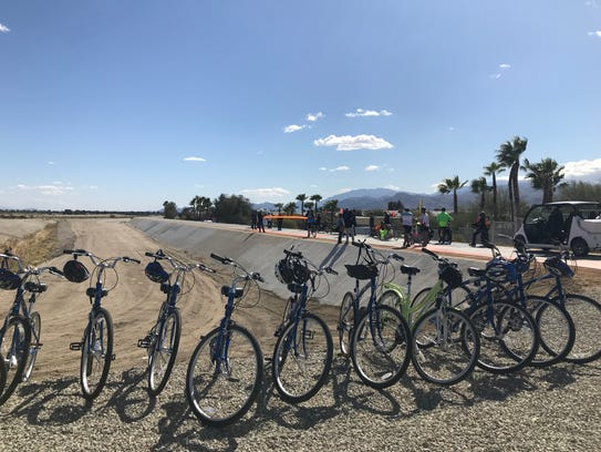 Bikes line the entrance to the start of the CV Link