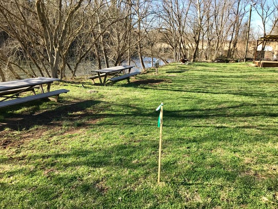 Stakes along the French Broad River at the Smoky Park