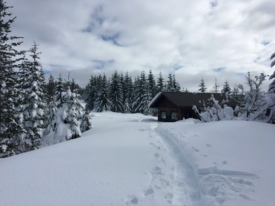 Mountain View Shelter, reached via trails from Maxwell