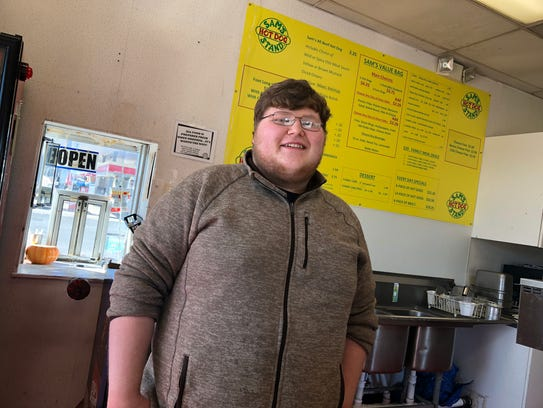 Calen Dexter, 22, is the owner of Sam's Hot Dog outside of Staunton on U.S. 11.