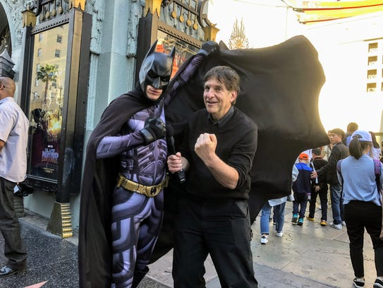 Jefferson Graham poses with a Batman actor on Hollywood