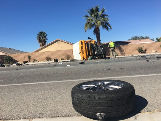 A school bus involved in a collision on Calhoun St