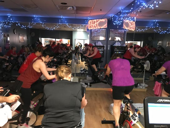Participants cycling during Fit for Cancer at the Hunterdon