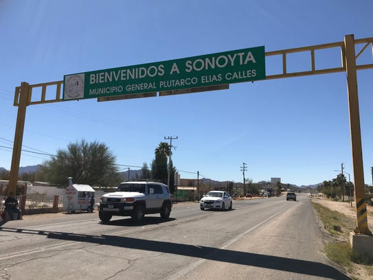 The main road to and from the Lukeville-Sonoyta border