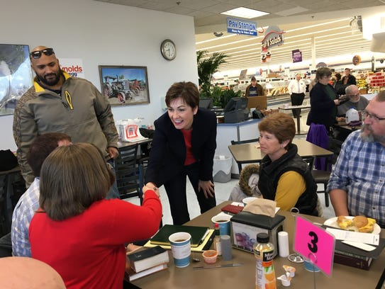 Gov. Kim Reynolds greets attendees at a campaign event in Mount Pleasant, Iowa, on Thursday, March 8, 2018.