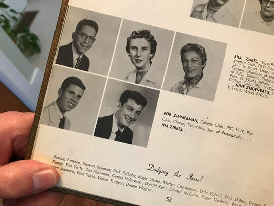 The 1954 Washington High School yearbook shows a Bob