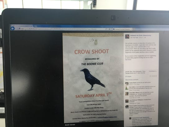 Craig Newman, director of Outreach for Earth Stewardship, based at Shelburne Farms, posted a message about planned crow shoot on Facebook and has had more than 40,000 views and more than 500 shares.