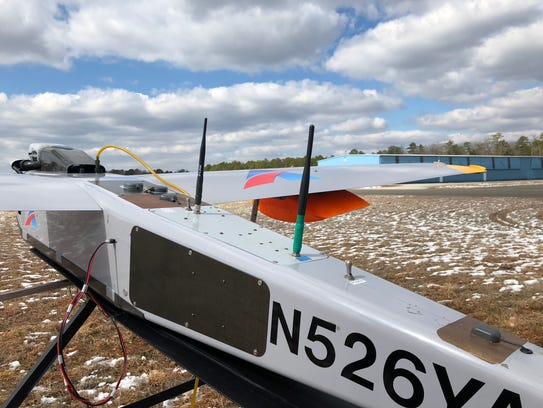This drone's payload included a flying cell site. It took off from Woodbine Municipal Airport on March 8 in Cape May County, N.J.