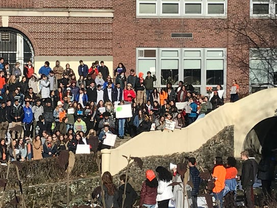 Montclair High School students gather in the school's