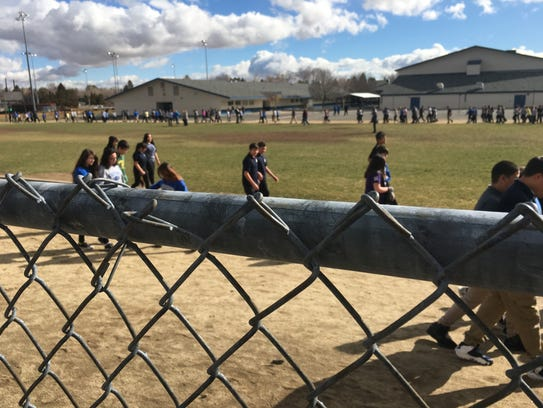 Students outside Swope Middle School in Reno take part