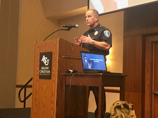Abilene Christian University Police Chief Jimmy Ellison speaks with Civilian Response to Active Shooter Event participants Thursday at the Hunter Welcome Center.