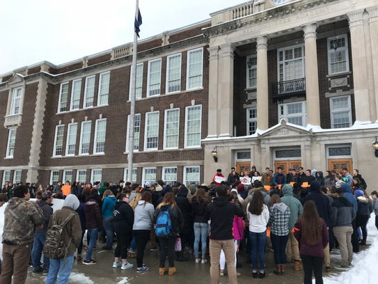The student walkout at Bellows Free Academy, St. Albans