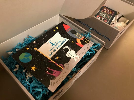 A Beacon Book Box designed by Laingsburg student Cameron
