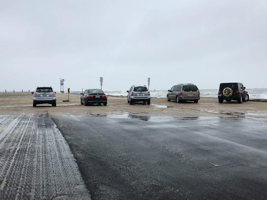 Cars line up at the Inlet in Ocean City to check out