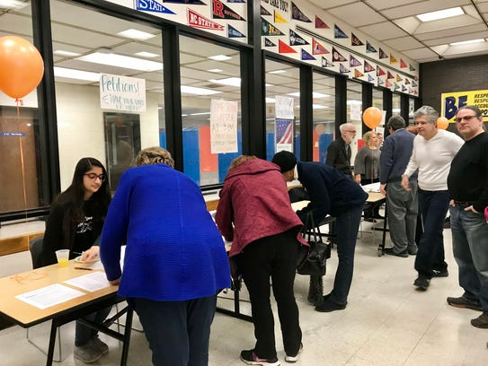 A voter registration table was set up at Piscataway's
