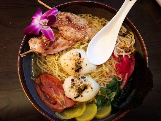 A build-your-own-bowl at Mantra, featuring miso ramen noodles with soy ginger chicken ($19).