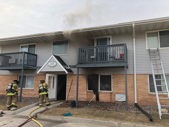 A kitchen fire in a first-floor apartment displaced