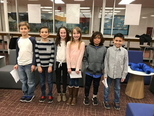 Laning Avenue School fourth-graders, from left, Dylan