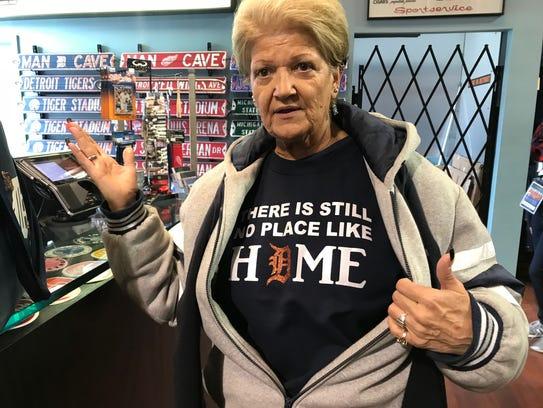 Jacki Hawkins of Dearborn Heights wears her custom homemade shirt.