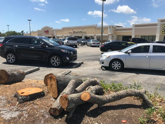 Dozens of trees have been cut down at Merchants Crossing