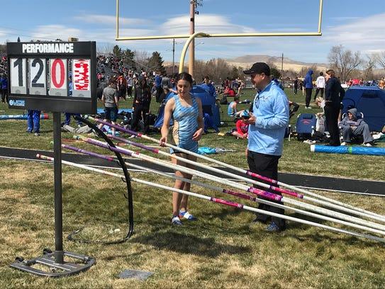Reed senior Alysia Allen won the girls pole vault Saturday