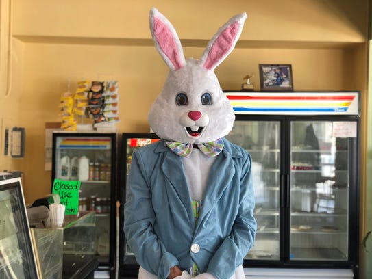 The Easter Bunny poses for a photo at the Pancakes