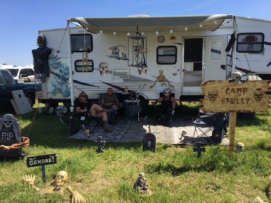"""The """"Camp Skully"""" campsite at Country Thunder."""