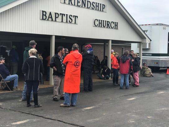 Volunteers gathered at Friendship Baptist Church on