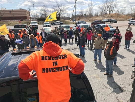 Christopher Covey of Williamstown speaks at a pro-gun
