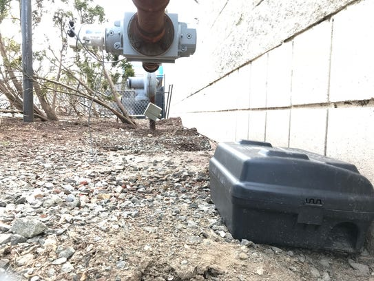 An example of a rodent bait box.