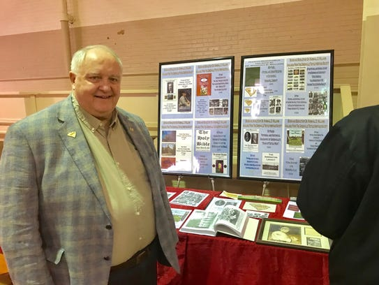 Marshall Williams of the Dunean Historical Society, shows his display during Shoeless Joe Jackson Day.