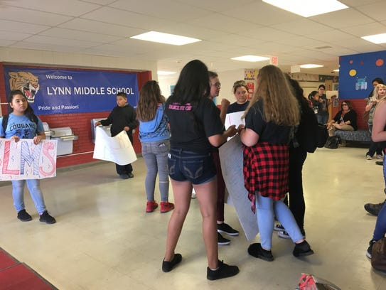Lynn Middle School students protest the bringing of