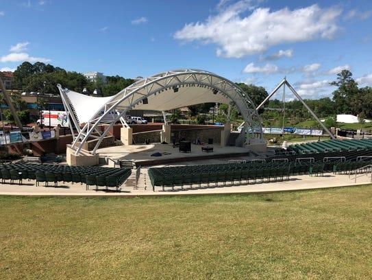 The Cascades Park amphitheater stood abandoned Sunday
